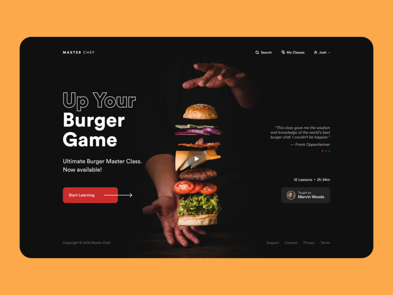 Master Chef food learning platform online learning burger cooking landing page app design clean ui minimalist web app typography grid layout ux design ui design