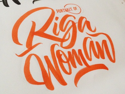 Riga Woman Logo brushpen brush lettering type logo typography draft sketch riga woman portrait calligraphy