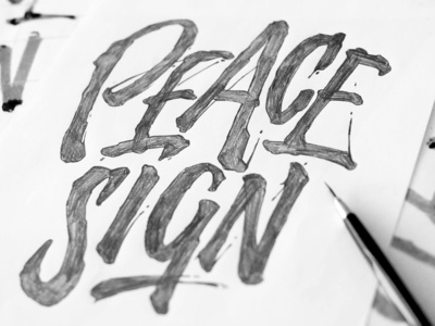 Peace Sign pencil draft rough lettering apparel t-shirt sign peace