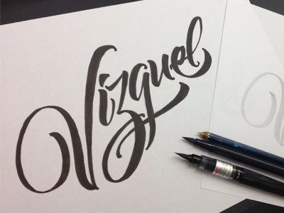 Vizquel typography lettering calligraphy brushpen vector basebal mlb