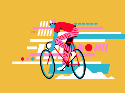 cyclist character illustration character design digital graphic deisgn illustration ux ui cycling flat vector motion shapes patterns character racing bicycle cycle