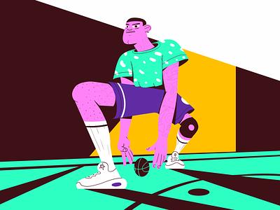 B-Ball Bandit sport athlete 2021 graphic design digital court sneakers hoop nba character illustration shot dribbble basketball