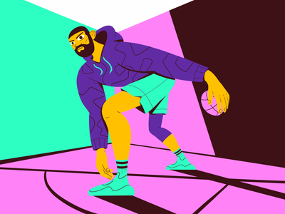 Player One athlete hoop sport illustration inspiration shot dribbble sneakers nba basketball digital design character graphic design