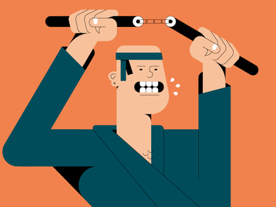 TwoSticks graphic design fight karate illustration shapes 2d flat character vector