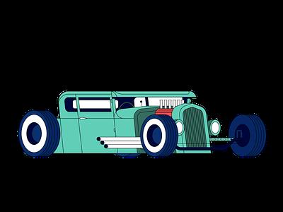 Ford Hot Rod inspiration graphic digital design illustrator car vehicle shapes flatart flat simplistic vectorart vector illustration ford
