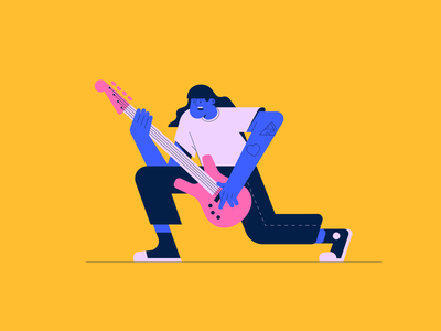 Jamming studiomalvah bass guitar shapes illustrator icon design digital character graphic flat illustration vector