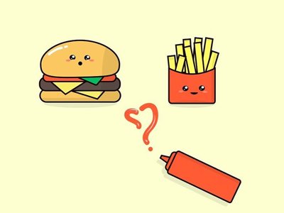 Lunch Time! cute design red fast food ketchup cute burger cute food fries burger
