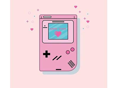 Game Over throw back cute design pink nintendo gameboy pink gameboy female gamer video games