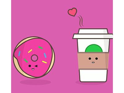 Donut and coffee pair sweets hot pink sprinkles food cute food cute design coffee donut