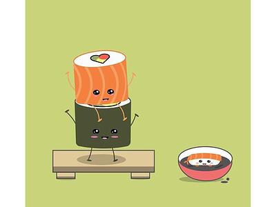 Sushi Party! green soy sauce sea food cute design rice food sashimi sushi