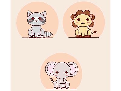 Cute Animals animals baby animals cute design cute animals lion elephant raccoon
