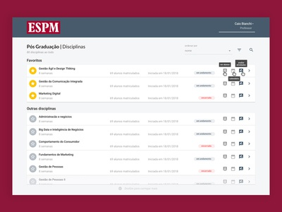 Blackboard subjects list redesign