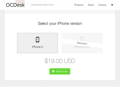 OCDesk new website product variant selection iphone select version cart product responsive ecommerce store white clean flat ocdock