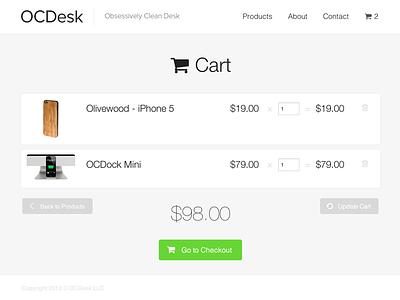 OCDesk new website cart view clean responsive flat sub navigation simple ecommerce cart store ocdock mobile ipad