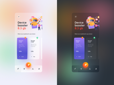 Phone cleaner app clean optimization ui  ux uiux ui booster boost light dark app cleaner