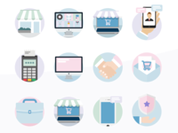 Pastel B2B Flat Icons