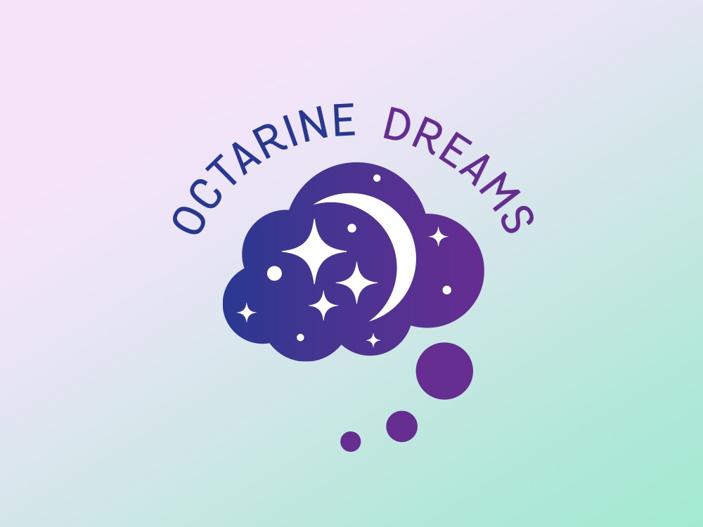 Octarine Dreams Logo terry pratchett logo designer magic galaxy cloud dreams octarine logodesign logo