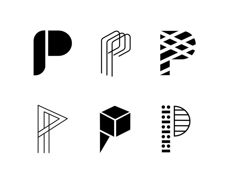 P icon design lettermark design vector type daily letter p p letter letter art icon icon a day white line art monogram letter bold black type typography