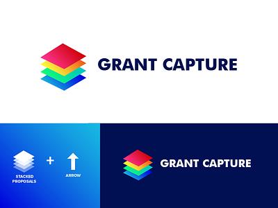 Grant Capture symbol revenue grant capture arrow proposal icon logomarks logo project identity branding colourful bold design grandient creative logo logomark logo designer logodesign logo