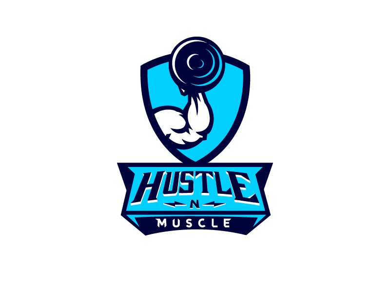 Hustle N Muscle logo mark weights muscle mark illustration badge modern logo logo process creative logo concept dark blue blue bodybuilding logo bodybuilding gym logo gym brand identity branding logo designer logo
