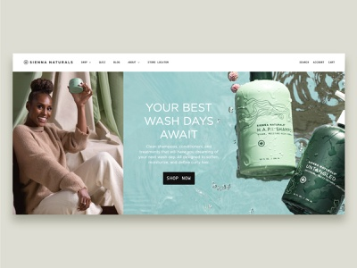 Sienna Naturals Landing Page websitestyle layout design beauty shampoo landing page website webdesign layout