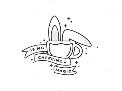 95mg illustration caffeine magic rabbit bunny coffee cup coffee