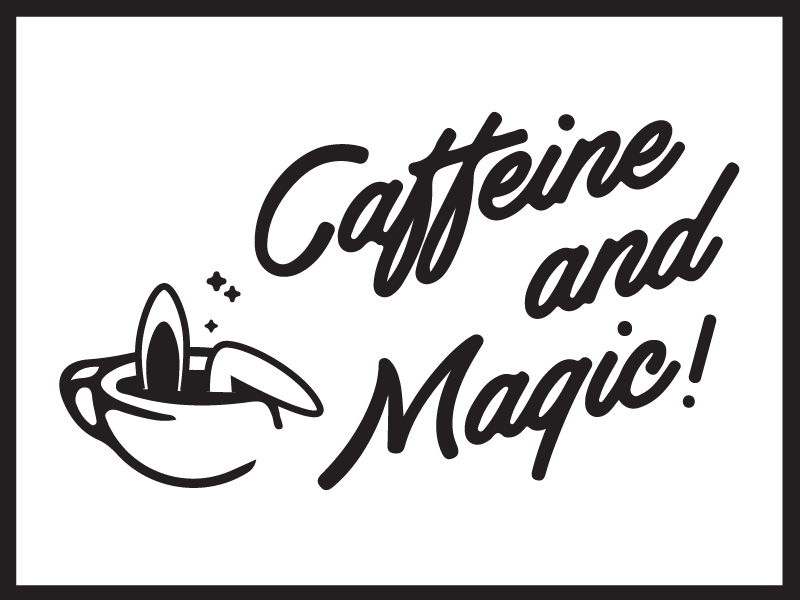 Retro Magic flag illustration caffeine magic rabbit bunny