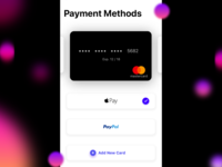 Payment Methods Page Mobile UI - iOS