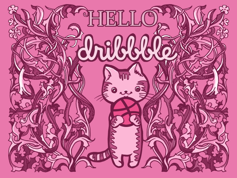 Hello, dribbble! kotik hello dribbble illustration