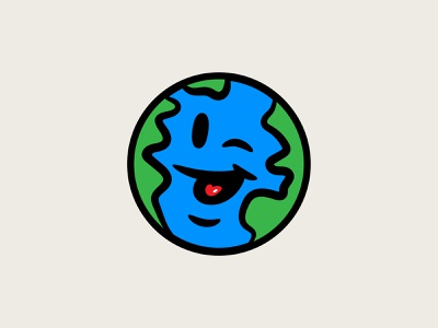 Good World character design earthday climate vector creation the dude with glasses wink funny earth earth day