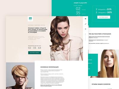 Landing page Paris-Beaute hairstyle hair site beauty woman design ux ui web landing