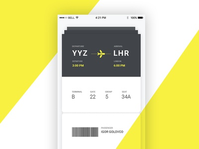 UI design of the ticket on a plane airport boarding pass yellow interface web air plane ticket design ux ui