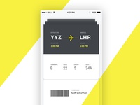 UI design of the ticket on a plane
