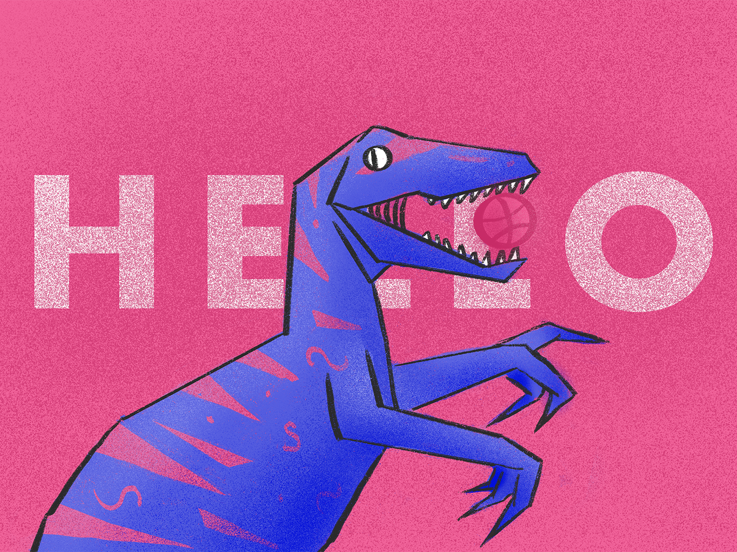 Dribbblosaur debut hello dribble first post first shot firstshot purple pink procreate dinosaurus dinosaur dino drawing concept character creative colorful flat vector design illustration