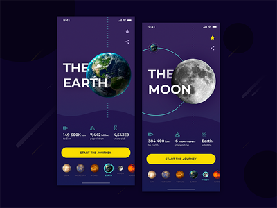 Solar System Journey UI concept education stars earth moon future ios mobile app falconx planets space
