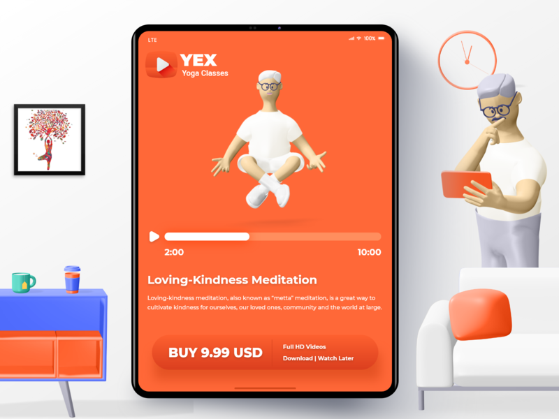 YEX Yoga Classes - iPad App userinterface yoga pose videoapp app designer ios app design appdesign design illustration minimal android app design uidesigner yoga studio apple ipad meditation yoga