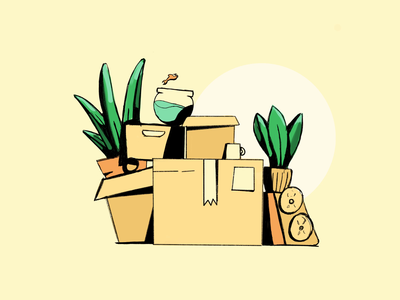 Moving Day composition man hide hiding cup coffee studiosnels house home appartment speaker box plant eyes fish plants boxes moving illustration animation