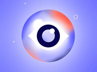 36 days of type - O 36daysoftype07 36days explosion binoculars observation space stars star gradient eyeball blink wink atom electron orbital orbit eye loop illustration animation