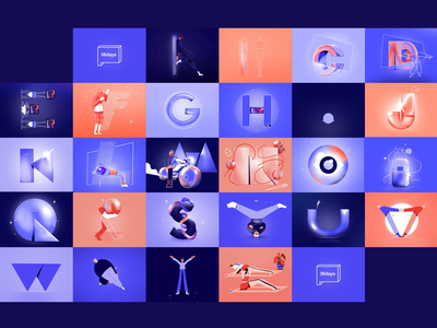 36 days of type - All skate sport repeat spin dance loop 2d challenge cell animated procreate framebyframe mozaic alphabet letters 36daysoftype 36days illustration animation
