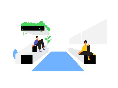 Cubics style exploration hanging shadow character hands shoes comfortable comfort 2d perspective geometric bench chair sitting sit carpet window plant illustration illustrator styleframe