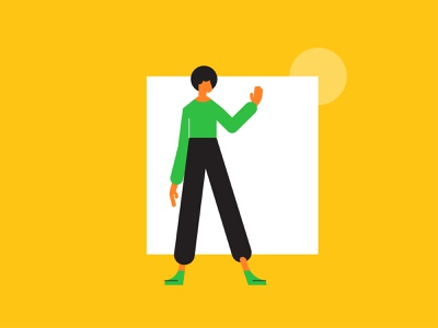 Cubics character 1 arm yellow sunshine geometric studiosnels architect fashion woman handset hands waving square hip shoes afro standing wave character animation illustration