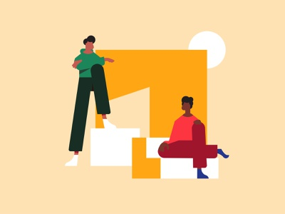 Cubics style explorations minimal fashion hipsters crew squad standing sitting stair bench square block blocks character light man line shadow illustration animation