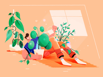 New quarantaine hobby's plants procreate illustration animation quarantaine hobby earth pot happy carpet pilea water can watering can watering window living room monstera plant