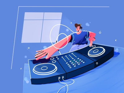 New quarantaine hobby's quarantaine hobby colors shirt controller pioneer button fader procreate sketch house party wire cue turning table headphone record illustration deejay dj