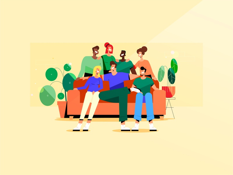 Groenlinks for Buro Barabas groenlinks composition wall line vector procreate sketch shadow smile family friends diversity happy bank calathea pilea illustration