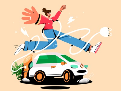 073elektrisch #1 type composition 2d social loop jumping happy photo car electric car electric sharing woman energy jump cell animation cell framebyframe illustration animation