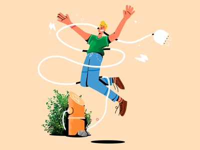073elektrisch #3 energy cell animation cell dancing dance gif loop happy procreate shock man boy mobility share electricity electric jump campaign illustration animation