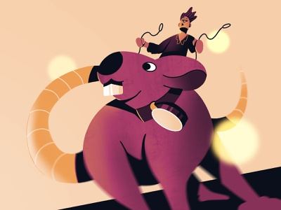 Rodent ears teeth motion blur motion coin action wind hair man blur gradient shadow reins rider riding tail rat rodent procreate illustration