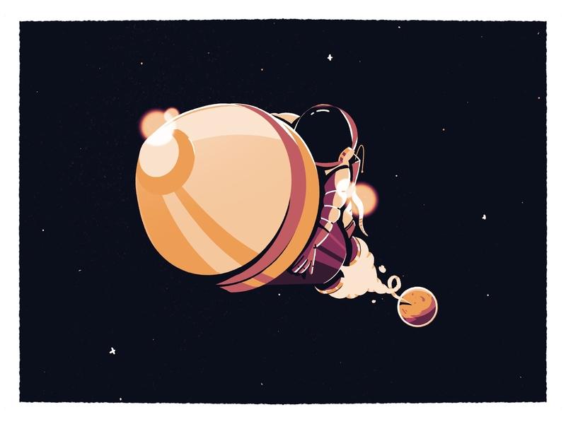 Rocket procreate earth astro shuttle flying spacesuit suit gloves helmet exhaust smoke milyway stars planet shiny shine astronaut space rocket illustration
