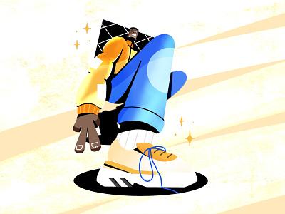 Shoes boy stars inktober procreate show pose man socks blur gradient cool peace shiny jacket coat hype shoes shoe illustration